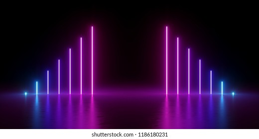 3d render, abstract minimal background, glowing vertical lines, chart, blue pink violet neon lights, ultraviolet spectrum, virtual reality, laser show