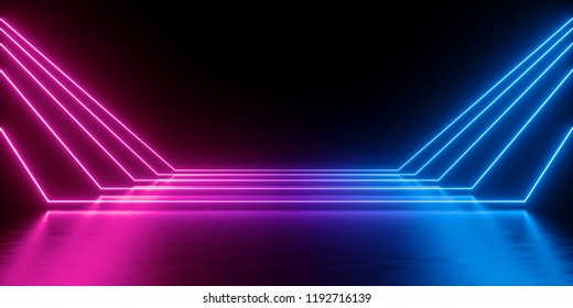 3d render, abstract minimal background, glowing lines, blank space, pink blue neon lights, ultraviolet spectrum, virtual reality corridor, laser show