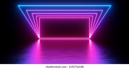 3d render, abstract minimal background, glowing lines rectangle, arch, blank banner, wall screen, pink blue neon lights, ultraviolet spectrum, virtual reality, laser show