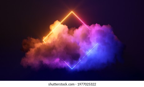 3d render, abstract minimal background with pink blue yellow neon light square frame with copy space, illuminated stormy clouds, glowing geometric shape