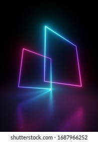 3d render, abstract minimal geometric background. Blank rectangular shapes levitating, square frames perspective view, virtual reality. Glowing neon lines. Stage laser show illumination