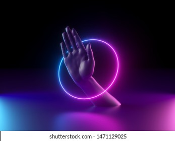 3d render, abstract minimal neon background, mannequin hand in ultraviolet light, pink blue glowing ring, round frame, mystery concept, virtual reality, mysterious performance, magical trick show