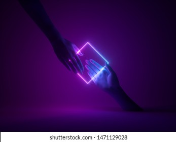3d render, abstract minimal neon background, mannequin hands interacting, pink blue glowing geometric square shape, ultraviolet light, fashion concept, virtual reality