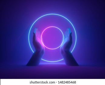 3d render, abstract minimal neon background, mannequin hands holding pink blue glowing rings, round shape, witch occult ritual, halloween mockup, ultraviolet light, fashion concept