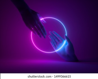 3d render, abstract minimal neon background, mannequin hands interacting, holding pink blue glowing round frame, ultraviolet light, fashion concept, virtual reality