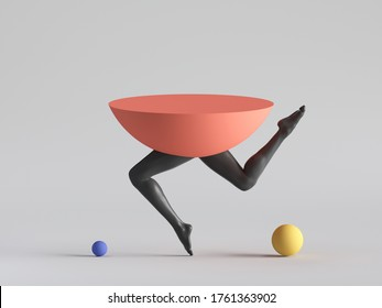 3d render, abstract minimal surreal design, funny contemporary art. Colorful geometric shapes, red hemisphere with black human model legs dance. Balance concept