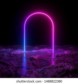 3d render, abstract minimalist background, pink violet blue neon arch, mysterious terrain, strange landscape, line glowing in the dark, ultraviolet light, 80's retro style