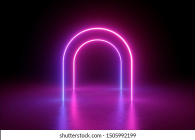 3d render, abstract minimalist background, pink violet neon line, arches glowing in the dark, blank space, ultraviolet light, 80's retro style, fashion show, performance stage design