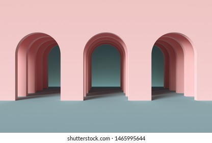 3d render, abstract minimalist geometric background, architectural concept, arch inside pink wall, paper layers