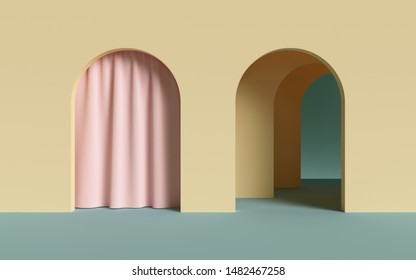 3d render, abstract minimalist geometric background, architectural concept, arch inside yellow wall, pink curtain, paper layers