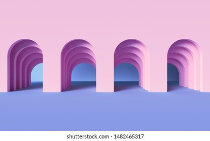 3d render, abstract modern geometric background, architectural concept, arch inside pink wall, paper layers