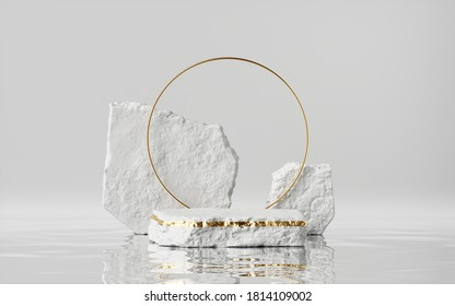 3d render, abstract modern minimal background with cobblestones and reflection in the water on the wet floor. Trendy showcase with golden round frame and empty platform for product displaying