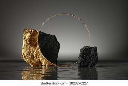 3d render, abstract modern minimal background with black and gold cobblestones, reflection in the water on the wet floor. Blank showcase with golden round frame, empty platform for product displaying