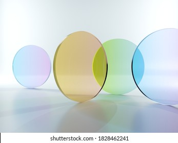 3d render, abstract modern minimal background with colorful translucent round glass pieces, simple geometric shapes