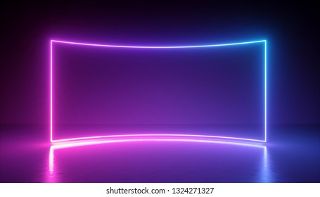 3d render, abstract neon background, rectangular blank frame, virtual reality screen, ultraviolet spectrum, laser show, fashion podium, stage, floor reflection