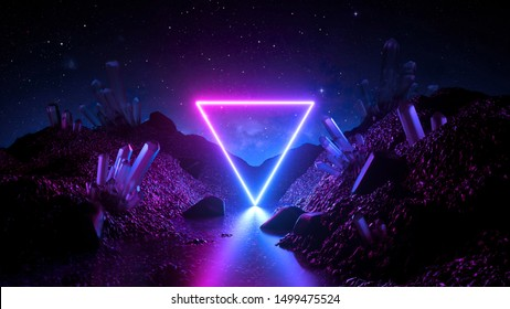 3d render, abstract neon background, mystical cosmic landscape, pink blue glowing triangle, triangular frame, terrain, virtual reality, dark space, ultraviolet light, crystal mountains, rocks, ground