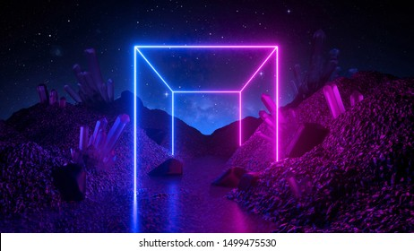 3d render, abstract neon background, mystical cosmic landscape, pink blue glowing cube, futuristic terrain, virtual reality, dark space, ultraviolet light, crystal mountains, rocks, ground