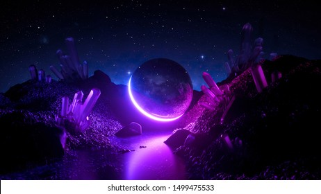 3d render, abstract neon background, cosmic landscape, mystical planet, pink blue glowing ball, futuristic terrain, virtual reality, dark space, ultraviolet light, crystal mountains, rocks, ground