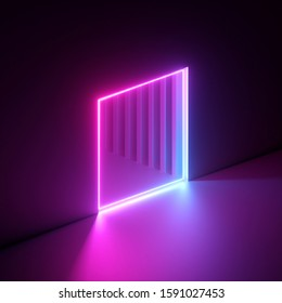 3d render, abstract neon background, vibrant pink light, square hole in the wall. Window, cave, open door, gate, portal. Corridor, tunnel entrance. Dramatic scene. Modern minimal concept