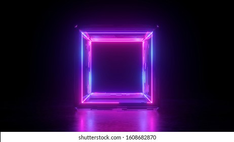 3d render, abstract neon background, square shape box, blank frame, pink glowing lines isolated on black, ultraviolet light