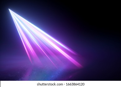 3d render, abstract neon background. Dramatic stage lighting. Purple rays beam light on the floor. Isolated spotlight. Bright projector shining inside empty room. Searchlight in the dark
