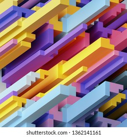 3d render, abstract neon geometric background, cube shapes, modern voxel wallpaper
