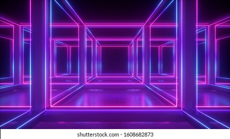 3d render, abstract neon geometric background, lines glowing in ultraviolet light, inside cubic shape cage, hypercube concept, square box construction