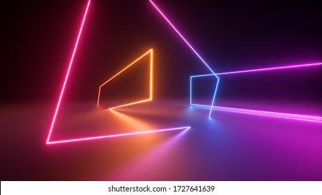 3d rendern, abstrakter neongeometrischer Hintergrund. Stage Laser zeigen Beleuchtung. Farbige rechteckige Formen, quadratische Rahmen, virtuelle Realität. Glühende Neonlinien. Minimaler futuristischer Entwurf