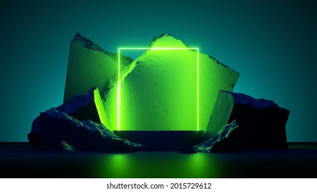 3d render, abstract neon green background with glowing square frame and cobblestone rocks ruins. Showcase scene with platform for product presentation