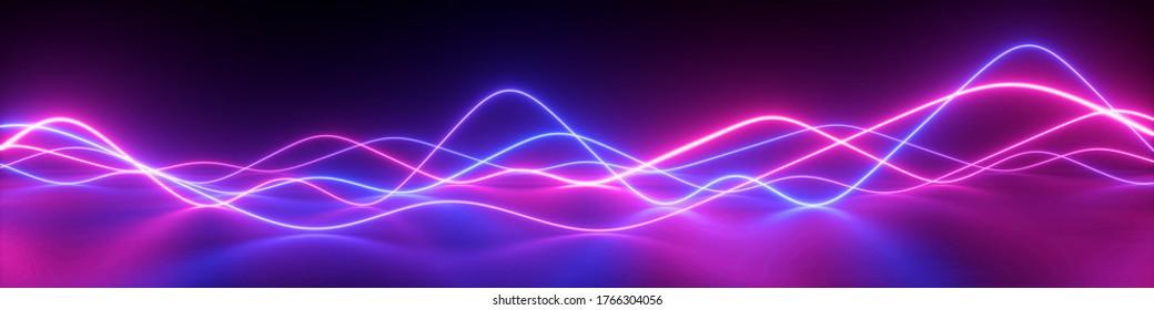3D-Rendering, abstrakter panoramischer Hintergrund mit rosafarbenen blauen Linien. Leuchtendes Neonlicht, Impuls-Equalizer-Diagramm in ultraviolettem Spektrum