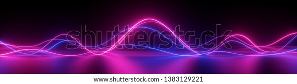 3d render, abstract panoramic background, neon light, laser show, impulse, equalizer chart, ultraviolet spectrum, pulse power lines,
