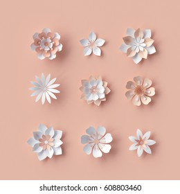 3d render, abstract paper flowers, decorative bridal bouquet, isolated floral design elements, peachy rose pink background