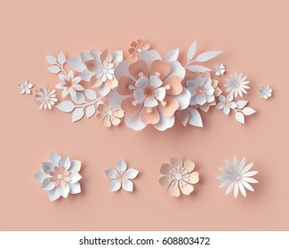 3d render, abstract paper flowers, bridal bouquet, decorative floral design elements. peachy rose pink background