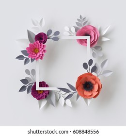 3d render, abstract paper flowers, floral background, blank square frame, greeting card template