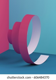 3d render, abstract paper spiral ribbon, pink blue modern background
