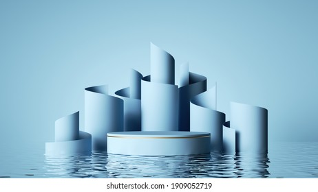 3d render, abstract pastel blue background. Modern fashion showcase for product presentation, minimal scene with empty stage, scrolled ribbons and reflections in the water
