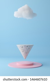 3d render abstract pastel color mock up scene. terrazzo podium floating on pink platform and blue sky background for product.