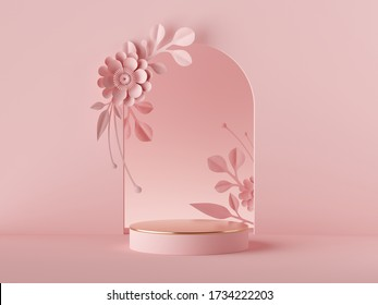 3d render, abstract pink background floral arch with paper flowers, luxury minimal fashion design. Shop showcase product display, empty podium, vacant pedestal, round stage. Blank poster mockup