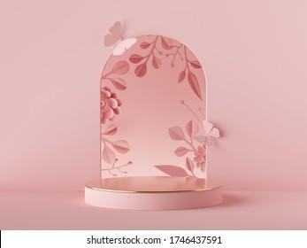 3d machen abstrakten rosa Hintergrund. Blumenbogen und Papierblumen, modernes Modedesign. Schaufenster Produkte, leeres Podium, leeres Podest, leeres Podest, runde Bühne. Postermockup mit Kopierraum
