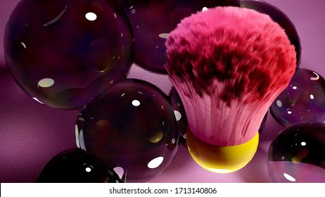 3D render abstract pink brush and bubbles