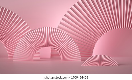 3d render abstract pink fashion stage background. Paper folded origami round arch minimal design. Art deco style