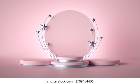 3d render. Abstract pink fashion background decorated with silver stars. blank board, round frame, copy space, cylinder steps, empty podium, vacant pedestal, stage. Award template