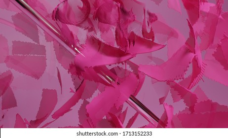 3D render abstract pink petal composition