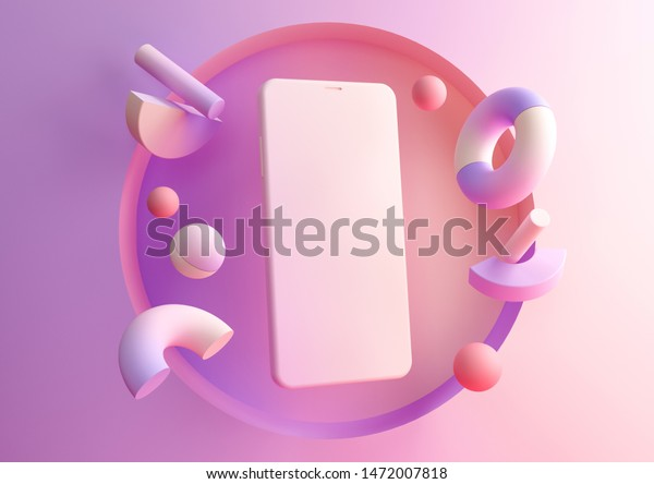 3d render abstract pink and purple gradient composition. Flying geometric objects and smartphone. Device screen on modern minimal background for presentation or application design show.
