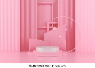 3d render abstract platform, minimal pastel podium display scene.