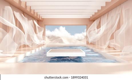 3d representa el podio abstracto de la plataforma sobre el agua y las cortinas onduladas. Burla realista en pastel para la promoción de productos. Resumen del fondo moderno mínimo con el podio emty.