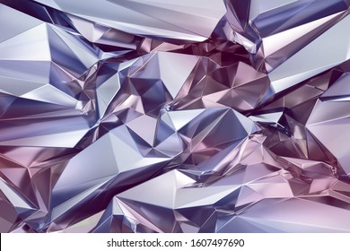 3d render, abstract shiny silver polygonal faceted background, crystal structure, crumpled holographic metallic foil texture, iridescent crystallized wallpaper, chrome, pastel palette