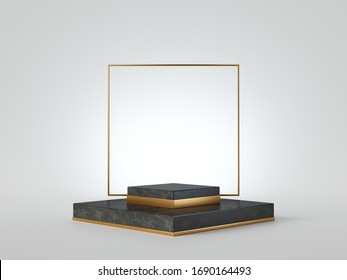 3d render, abstract showcase. Black marble pedestal isolated on white background, golden square frame. Modern minimal concept. Vacant platform, empty stage, blank podium. Premium geometric design