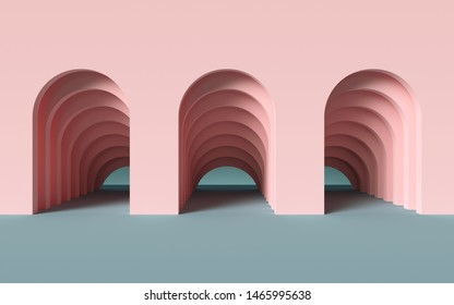 3d render, abstract simple geometric background, architectural concept, arch inside pink wall, paper layers