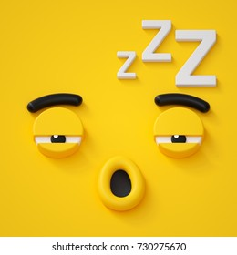 3d render, abstract sleepy face icon, sleeping character illustration, dreaming, emotional, cute cartoon monster, emoji, emoticon, toy